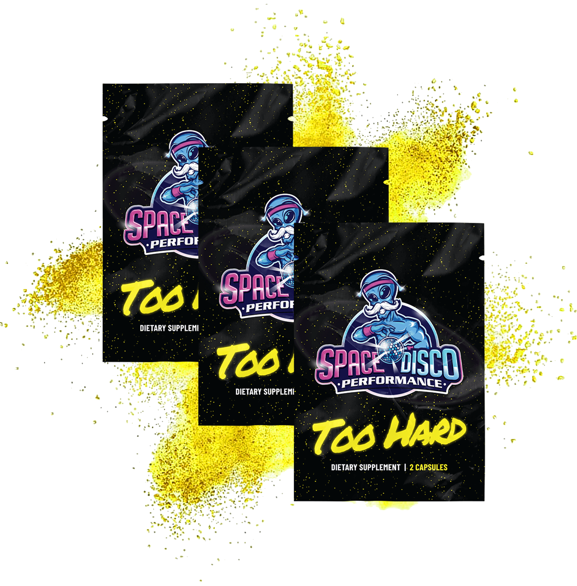 Space Disco Performance TOO HARD Male Enhancing REFORMULATED Supplement ( 3 Pack / 6 Pills)